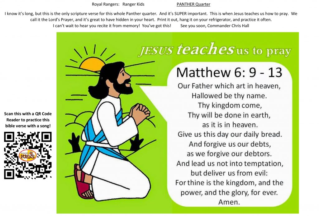 Royal Rangers - Ranger Kids - Matthew 6, 9-13 - The Lords Prayer